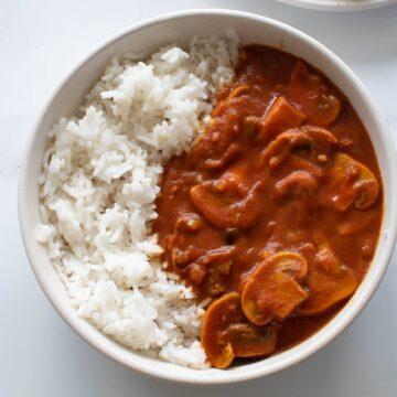 Mushroom curry with rice.