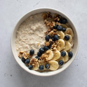 Protein overnight oats with banana, blueberries and walnuts.