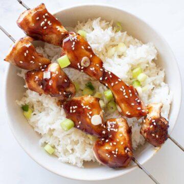Teriyaki chicken skewers.