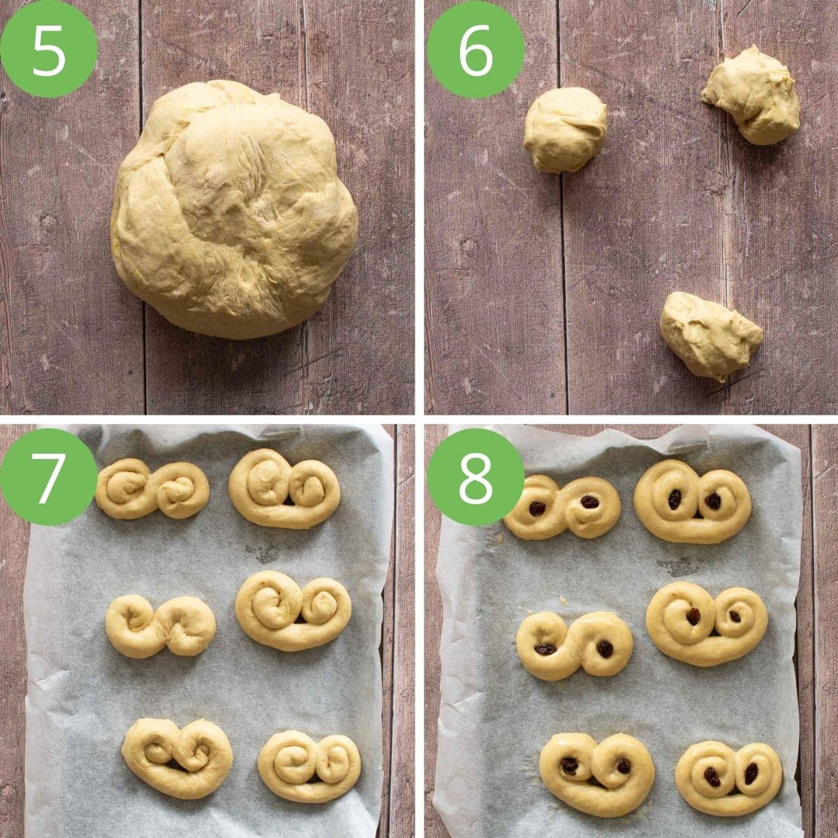 Step by step images showing how to roll out lussekatter.