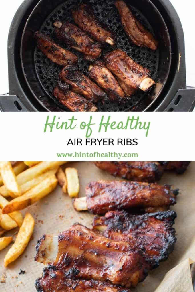 Cooked ribs in an air fryer and on a plate.