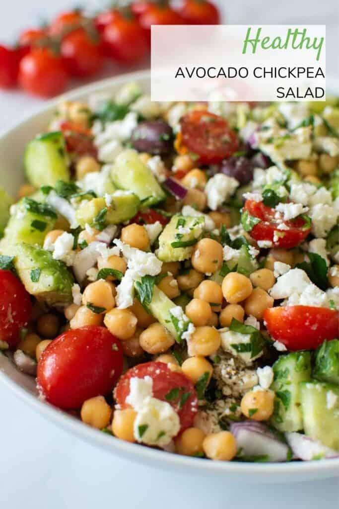 Mixed chickpea and avocado salad.