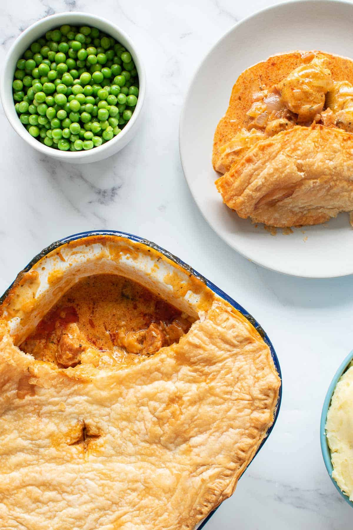 Creamy chicken pie with peas.