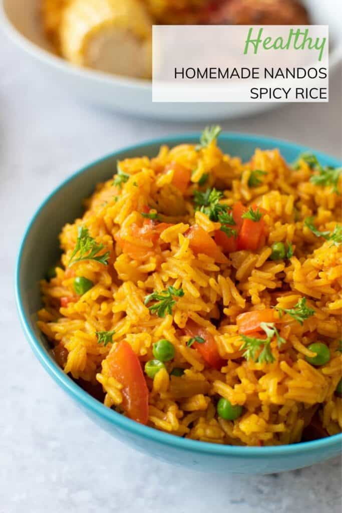 Close up of a bowl of Nandos spicy rice.