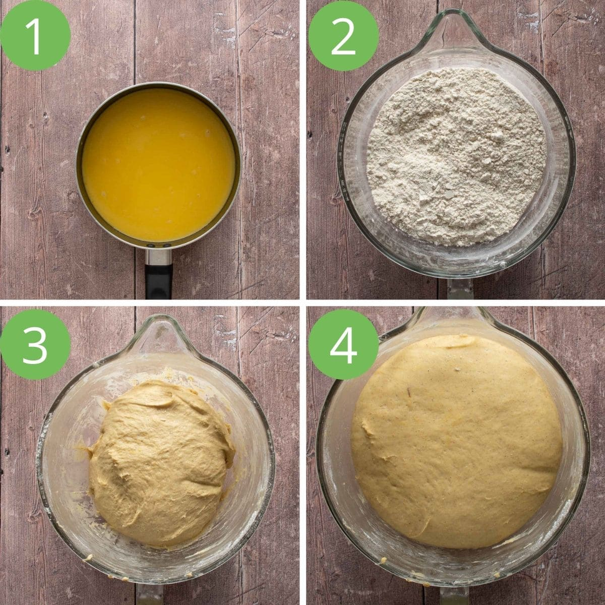 Step by step images showing how to make scandinavian saffron bun dough.