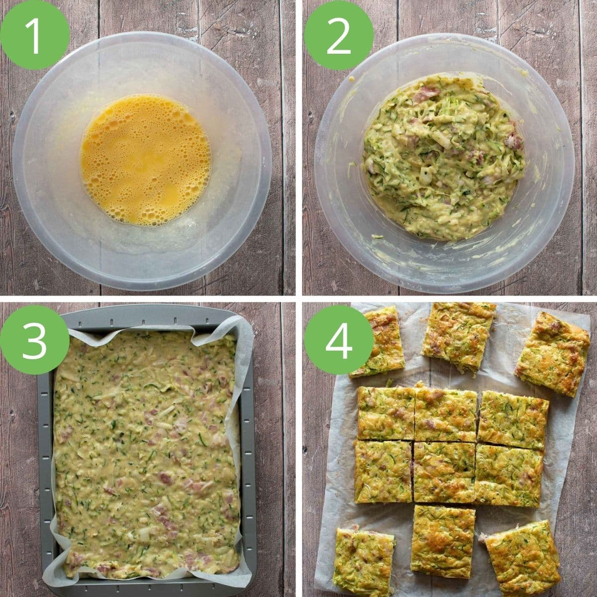 Step by step images showing how to make zucchini slices.