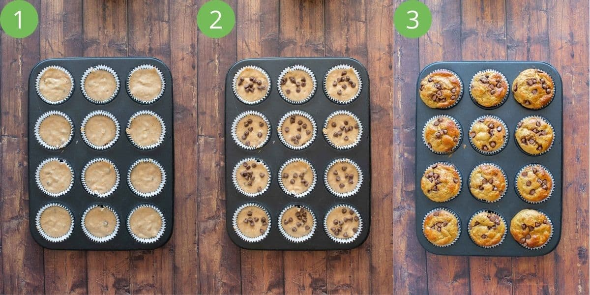 Step by step how to fill muffin liners.