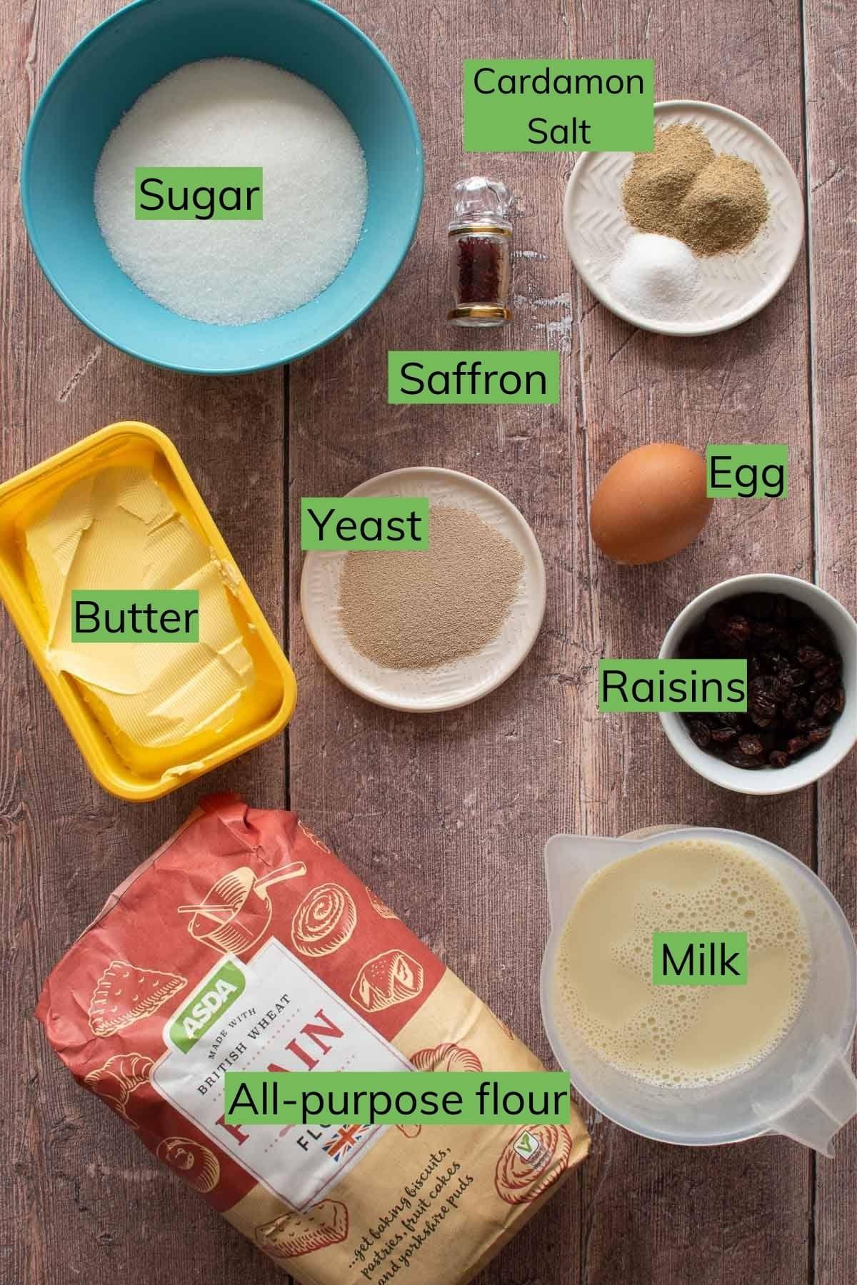 Ingredients needed to make lussekatter.