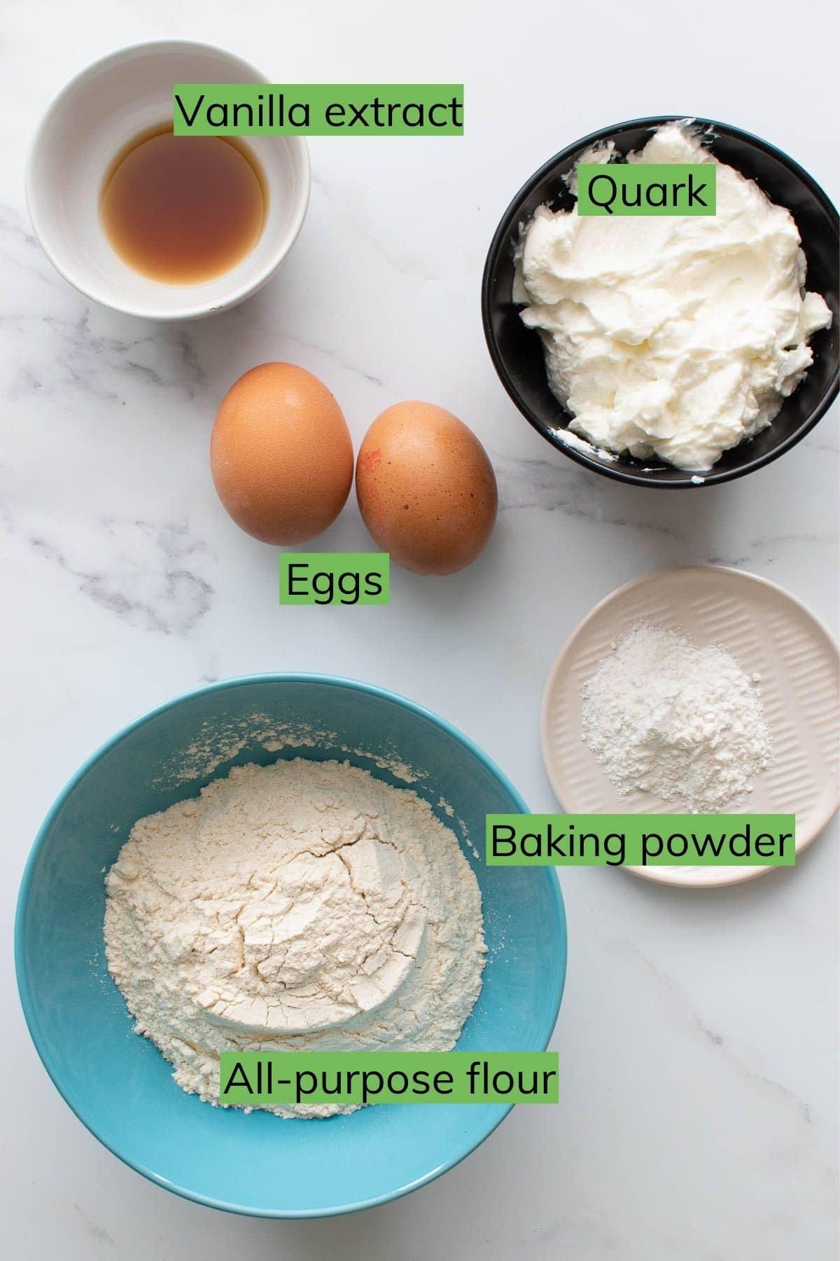Ingredients needed to make quark pancakes.