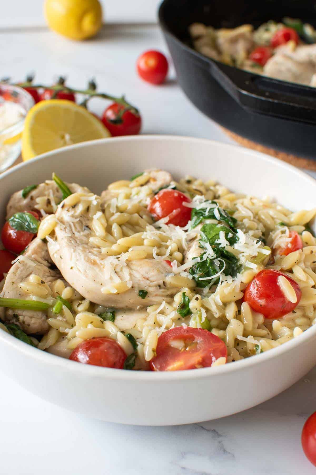 Close up of a bowl with chicken, orzo, spinach and tomatoes.