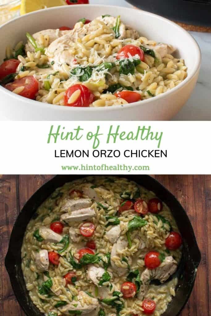 Lemon orzo chicken in a cast iron pan, and in a bowl.