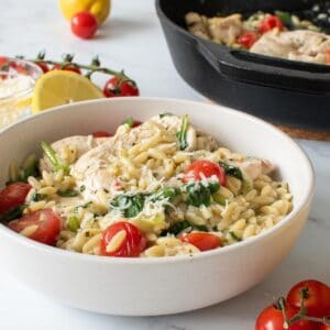 A bowl of lemon chicken with orzo.