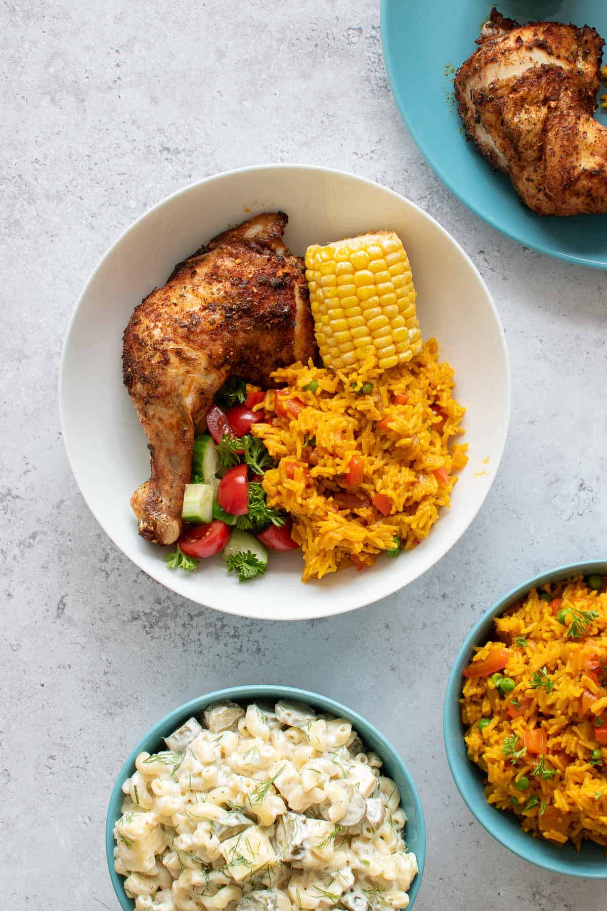 Peri peri chicken and side dishes.
