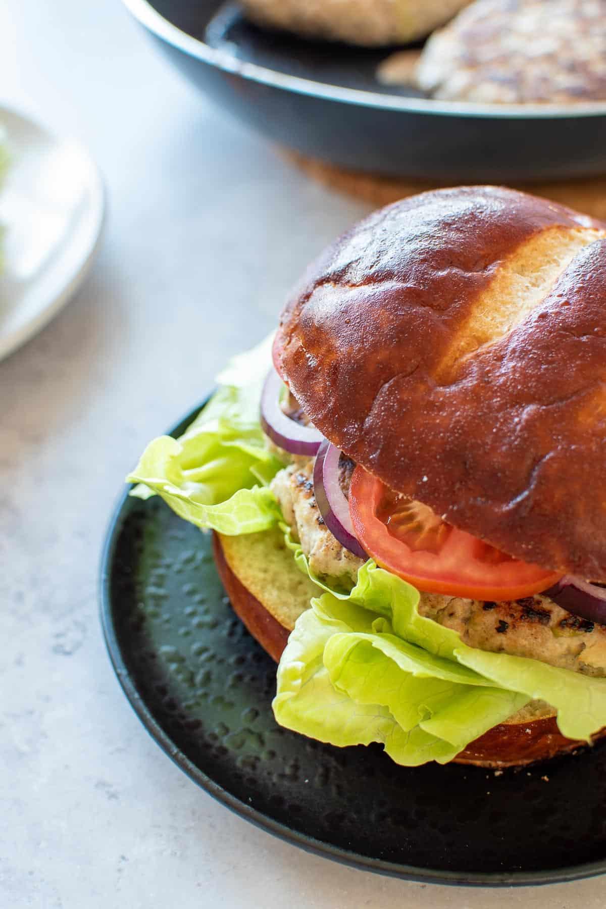 Close up of a burger.