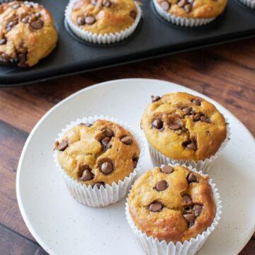 A plate of protein pumpkin muffins.