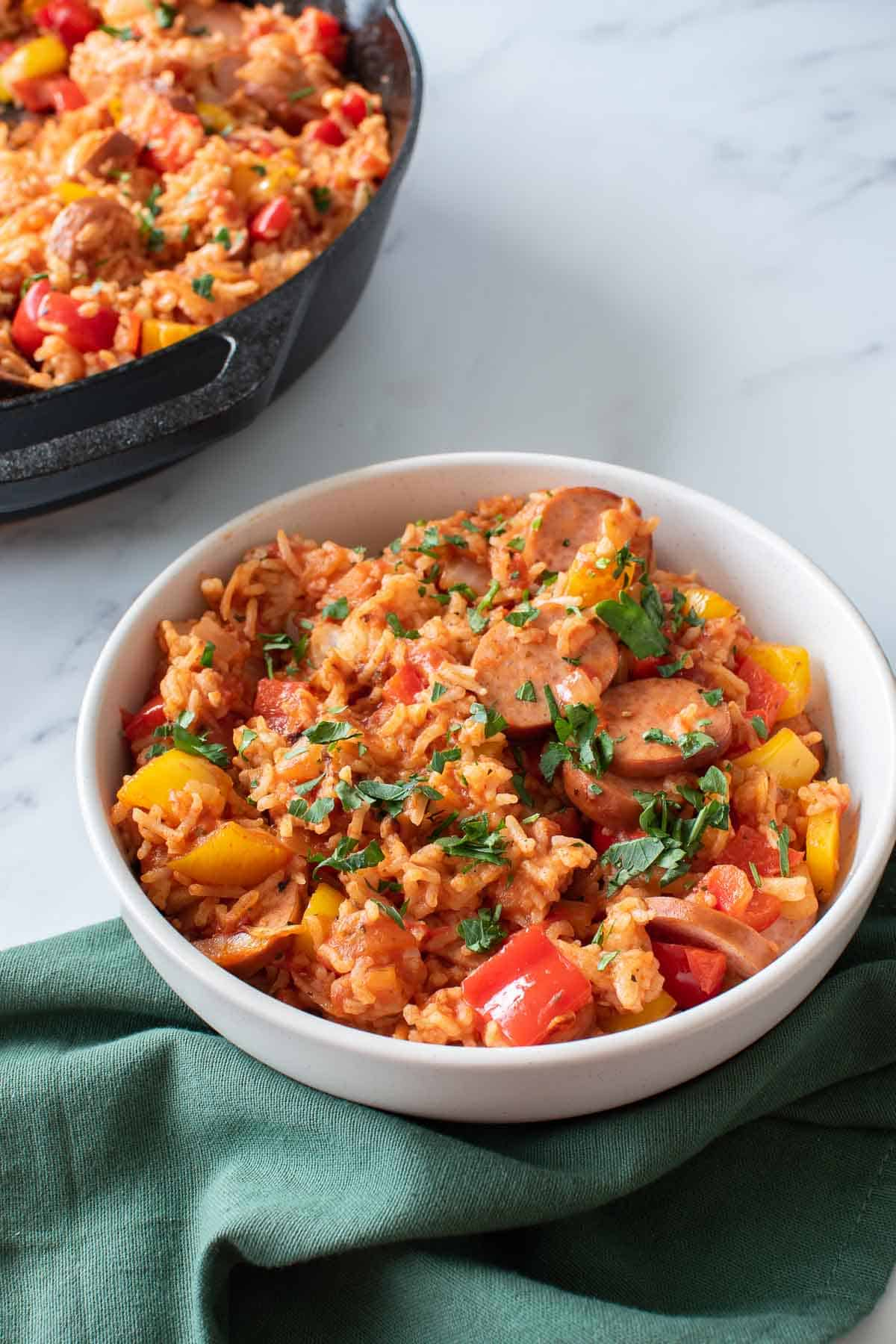 Sausage and rice skillet in a bowl.