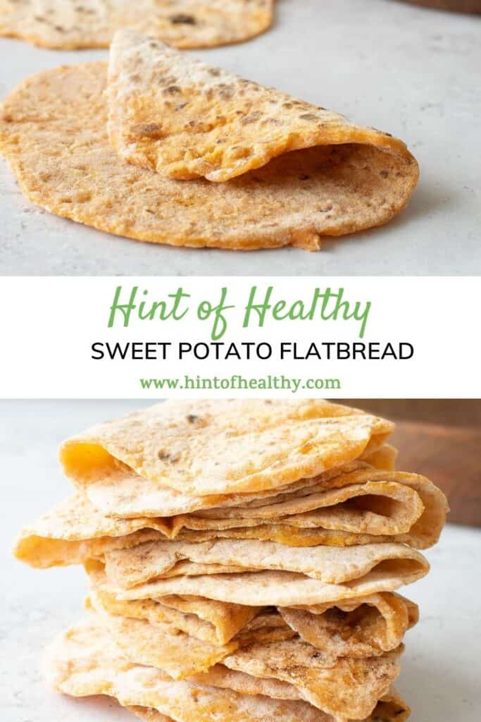 Two images of sweet potato flatbreads.