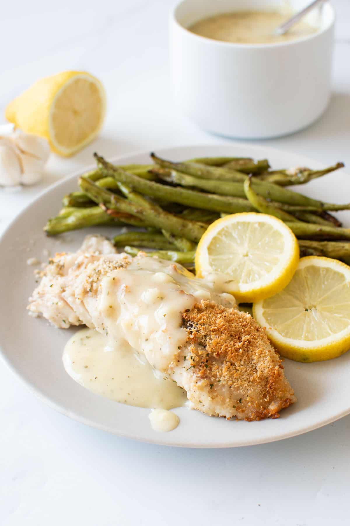 Baked haddock with a crispy breadcrumb topping.