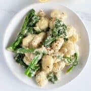 Creamy broccoli gnocchi.