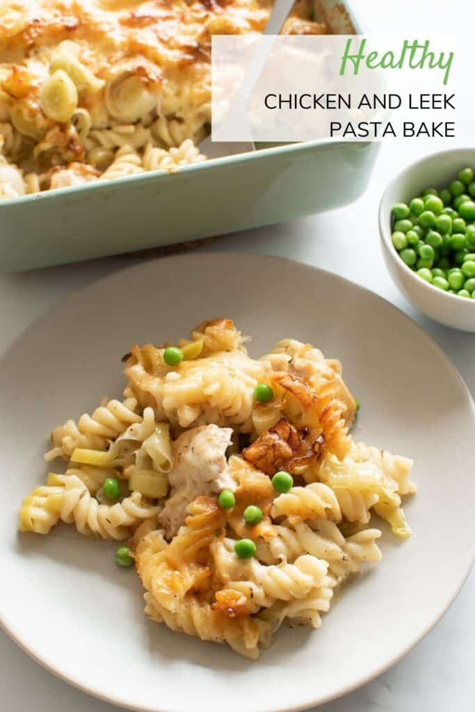 A plate with chicken pasta bake.
