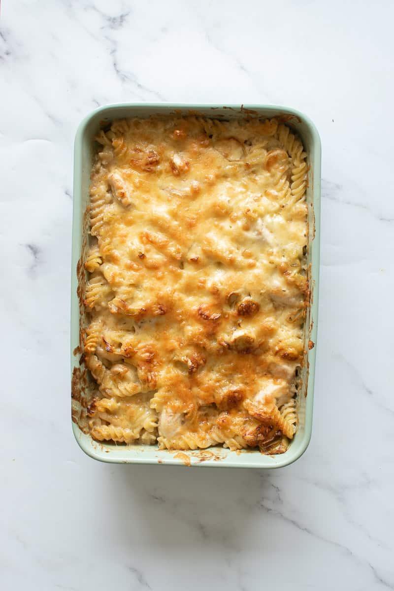 Chicken and leek pasta casserole in a casserole dish.