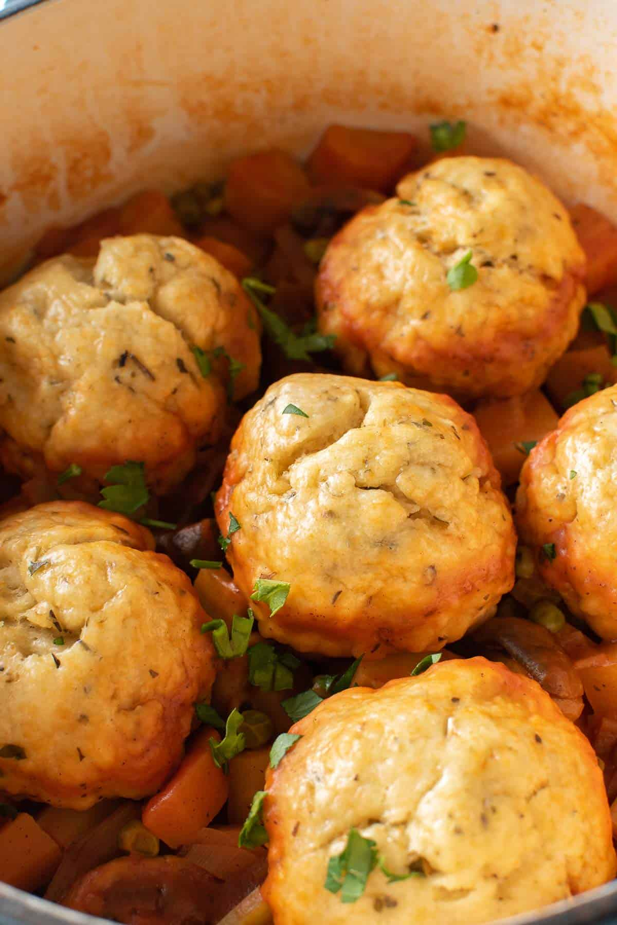Close up of a pot of stew with dumplings on top.