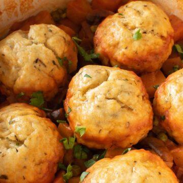 Easy stew dumplings with suet.