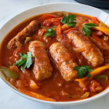 Instant pot sausage and peppers in tomato sauce.