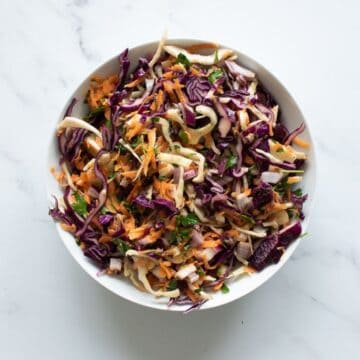 Mayonnaise free coleslaw in a bowl.