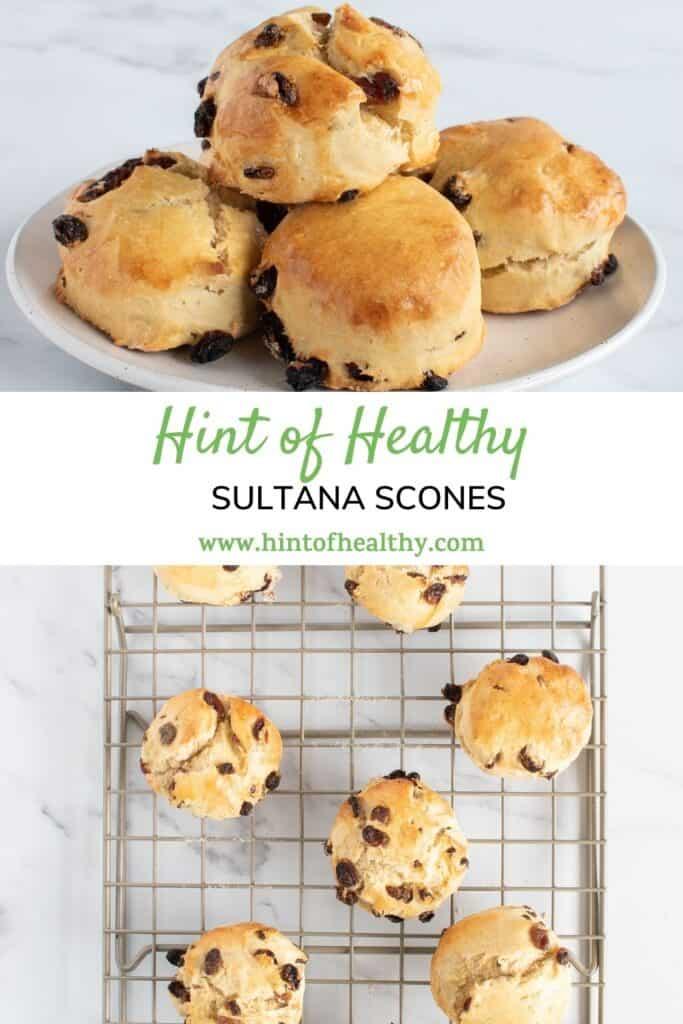 Two photos of soft sultana scones.