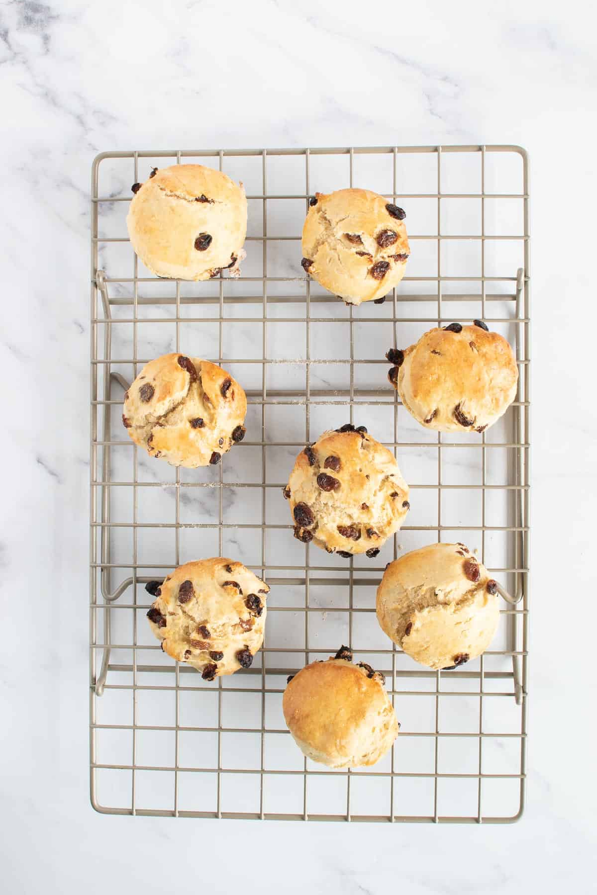 Sultana scones on a cooling rack.