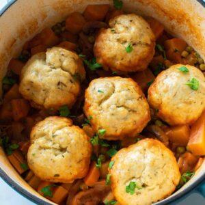 Vegan stew with dumplings.