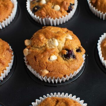 Blueberry and white chocolate muffins.