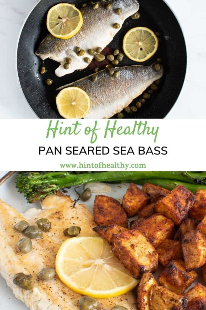Two images of sea bass with lemon.