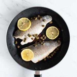 Pan fried sea bass with lemon.