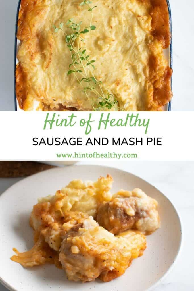 Two images of pie with mashed potatoes and sausages.