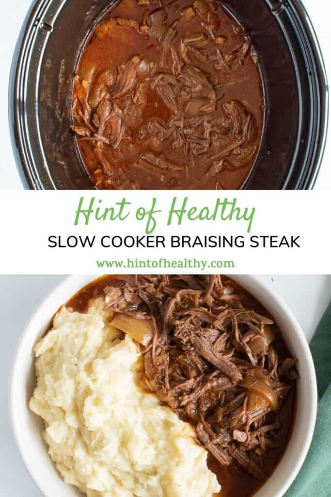 Shredded braising steak in a slow cooker, and served in a bowl with mash.