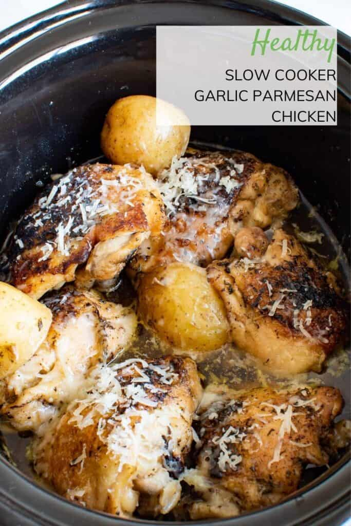 Chicken thighs and potatoes in a slow cooker.