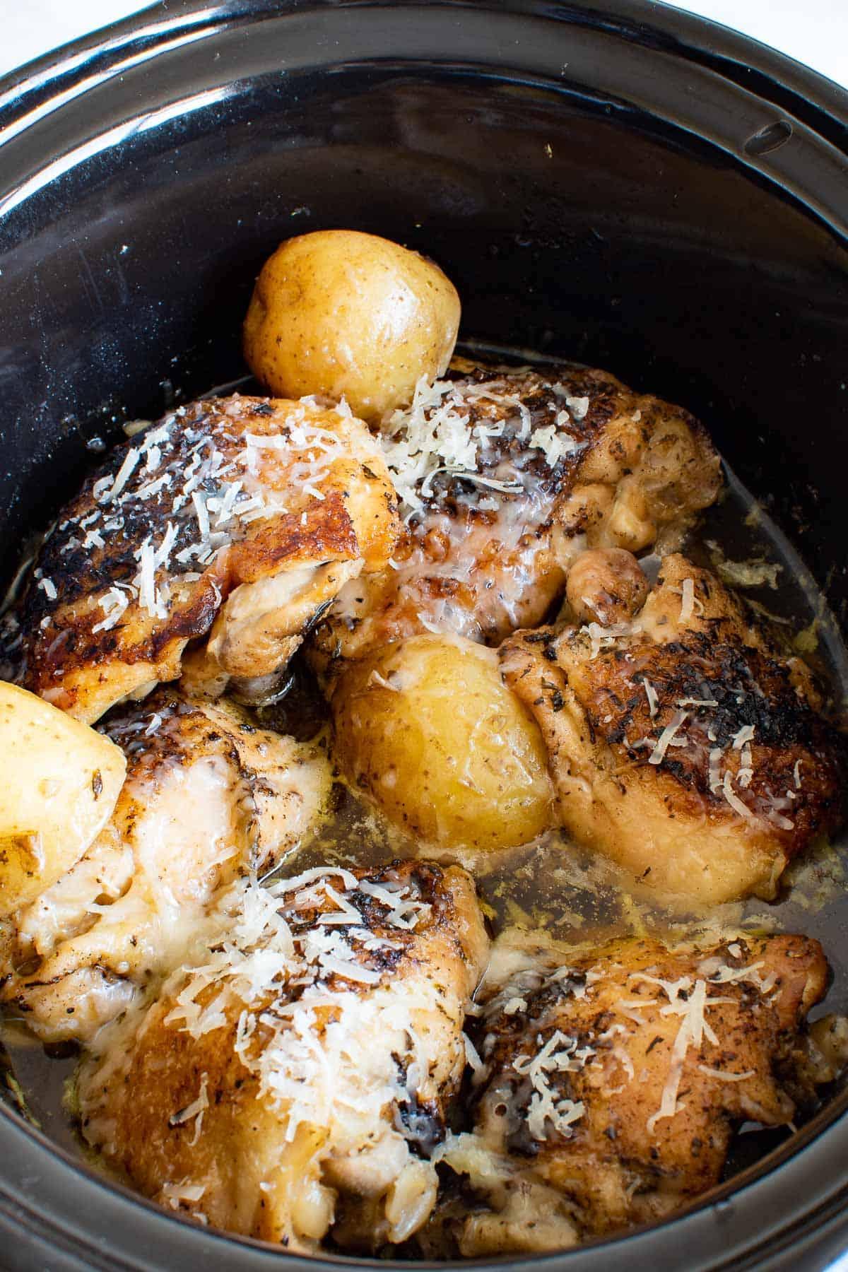 Crockpot garlic Parmesan chicken and potatoes.