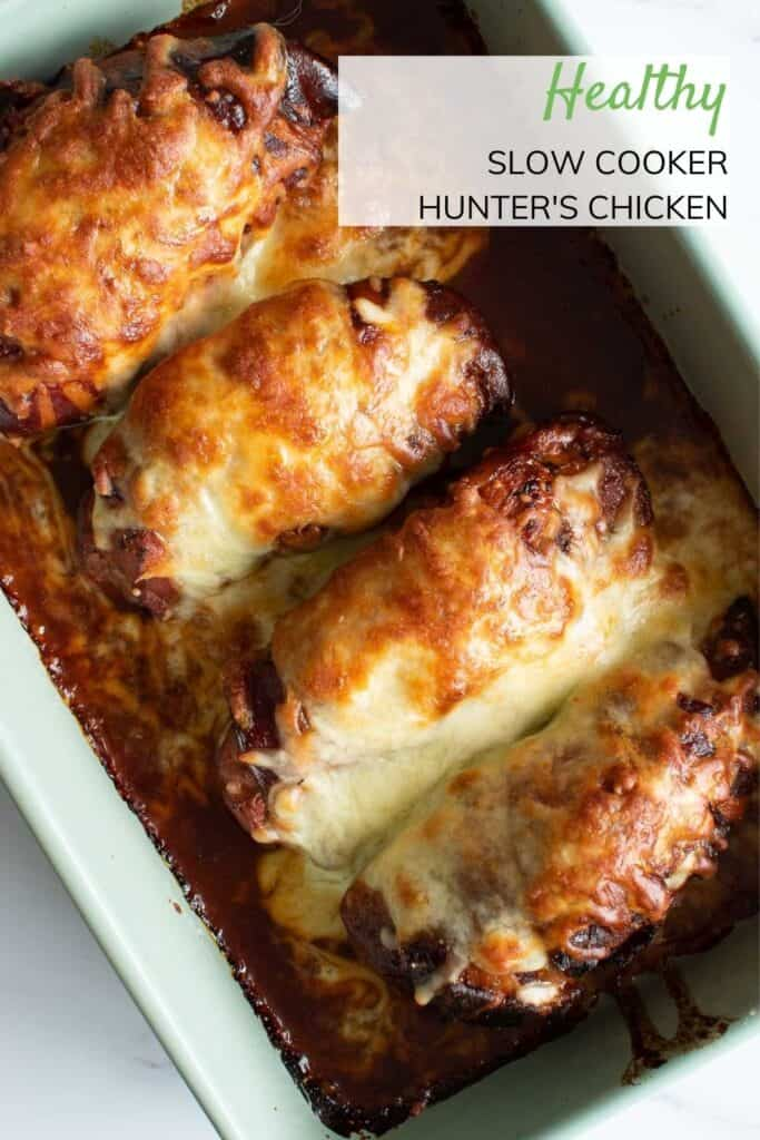 Slow cooker hunter's chicken in a baking dish.