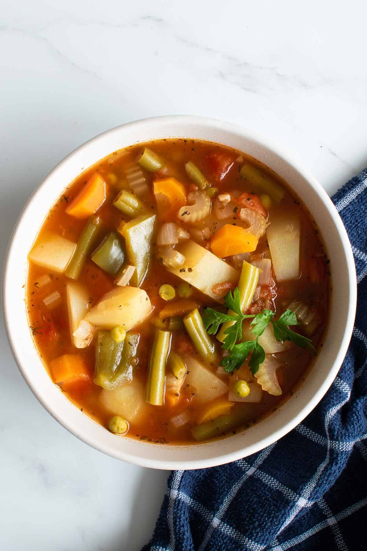 A bowl of pressure cooked vegetable soup.