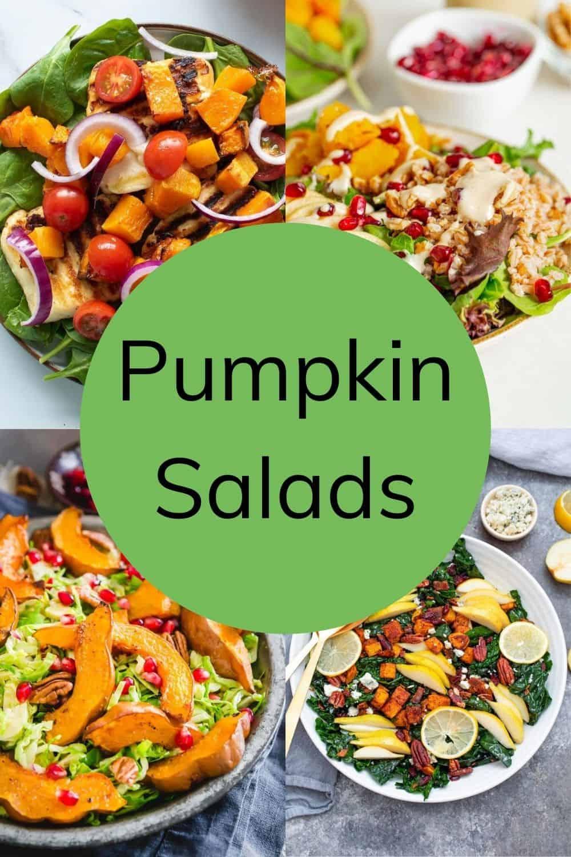 Collage of several pumpkin salads.