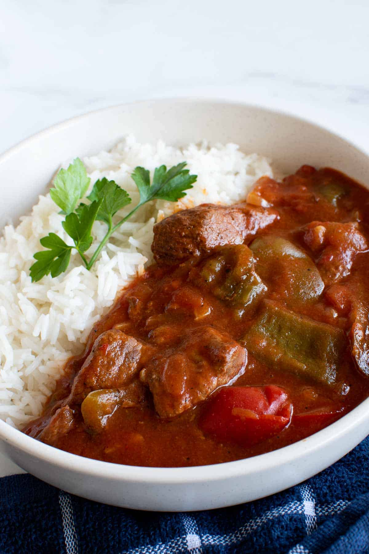 Goulash and rice in a bowl.