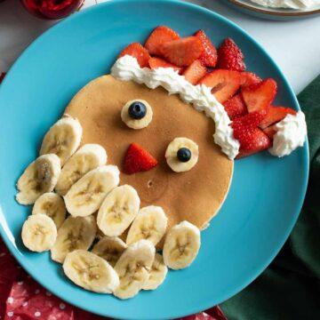 Santa pancakes with bananas and strawberries.